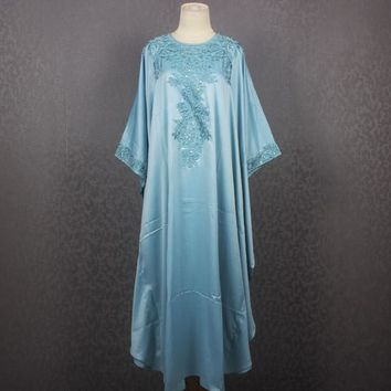One Size Fits All Dress Satin Caftan Maxi Dress Blue Sequin Caftan Dress Vintage Sequin and Beaded Dress One Size fit up 3XL