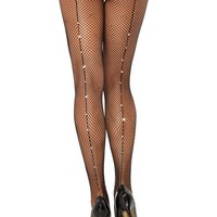 Leg Avenue Female Rhine Stone Back Seam Fishnet Pantyhose 9133