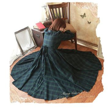 Vintage Mori Girl Preppy British Plaid Long Maxi Dress Princess Dress Sweet Peter Pan Collar Women Gothic Dress Boho Vestido