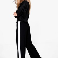 Zahara Contrast Panel Wide Leg Relaxed Trousers | Boohoo