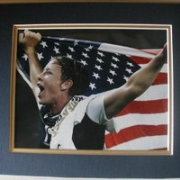 "2012 USA Women's Olympic Soccer Team Abby Wambach With Flag 8""x10"" DOUBLE MATTED Photo. Ready for Framing!"