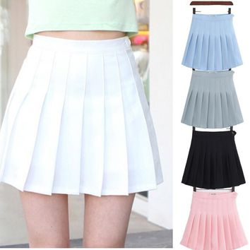 Girls A Lattice Short Dress High Waist Pleated Tennis Skirt Uniform with Inner Shorts Underpants for Badminton Cheerleader
