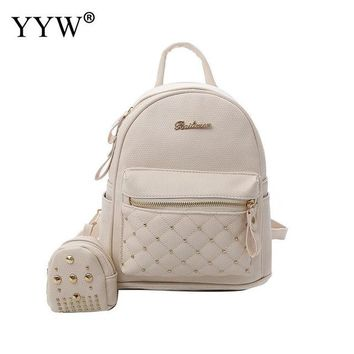 School Backpack trendy Solid PU Leather Small Female Backpack with A little Backpack Rivet s for Children High Quality Lady's Bags AT_54_4