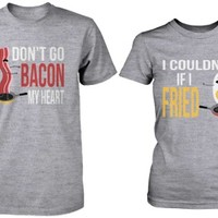 Funny Bacon and Egg Matching Couple Gray Shirts