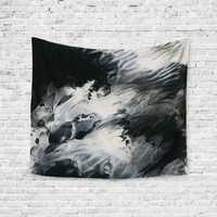 Monochromatic Veins Black White Agate Geode Trendy Boho Wall Art Home Decor Unique Dorm Room Wall Tapestry Artwork