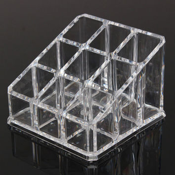 9 Grids Transparent Nail Polish Display Stand Rack Cosmetics Lipstick Holder