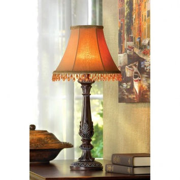 Beaded Leaf-Motif Table Lamp
