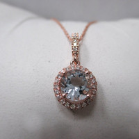 Solid 14K Rose Gold Round Aquamarine Necklace with a Diamond Halo .86 TCW