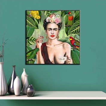 QKART Frida Kahlo Wall Art Oil Painting Wall Pictures for Living Room framless Wall Art Canvas Painting Posters and Prints