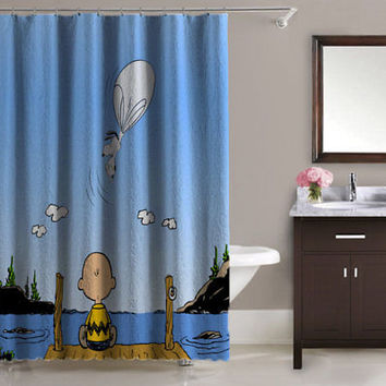 Peanuts Charlie Watch Snoopy Fly Print On High Quality Waterproof Shower Curtain