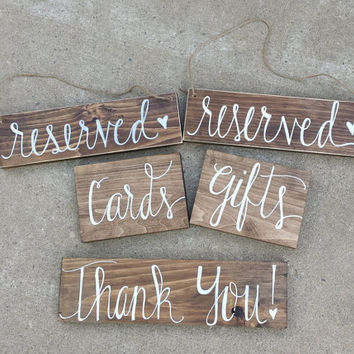 Set of 5 Rustic Wedding Signs, Card and Gift Table Sign, Hanging Reserved Sign, Rustic Thank You Sign, Rustic Wedding Decor, Country Wedding
