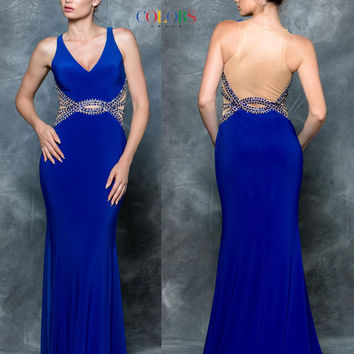 Colors 1599 Jersey Stretch Beaded Waist Prom Evening Dress