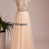 Angel Dragon Bridesmaid Rhinestones Prom Dress Long Evening Gowns