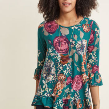 Floral Referral 3/4 Sleeve Top