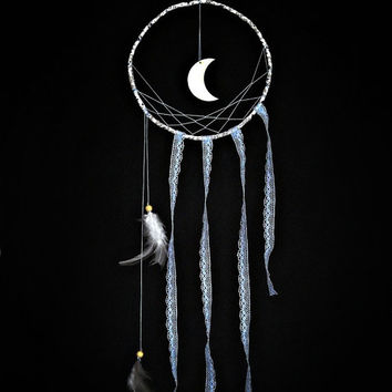 Minimalist dream catcher,  blue lace, wall hanging, moon, white feathers, beaded dreamcatcher, long, large, bedroom decor