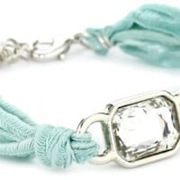 "Ettika ""Vintage Ribbon"" Turquoise-Color Bracelet Silver Rectangular Gem"