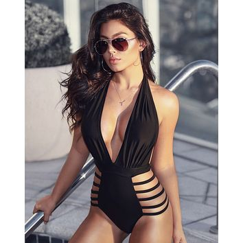 Black Halter Cut-out One Piece