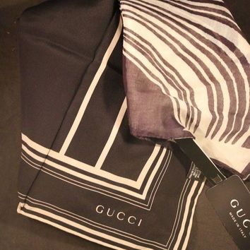 DCCK2JE New 2 Gucci Scarves Black & White 1 Silk Scarf & 1 Cotton Wave Scarf