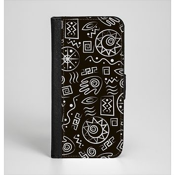 The Black and White Cave Symbols Ink-Fuzed Leather Folding Wallet Case for the iPhone 6/6s, 6/6s Plus, 5/5s and 5c