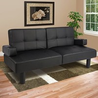 Best Choice Products Leather Faux Fold Down Futon Lounge Convertible Sofa Bed Couch - Black - Walmart.com