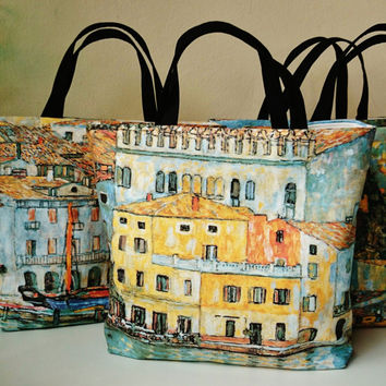 Canvas tote bags, Gustav Klimt pictured bag, beach bag, handmade in France, trendy ladies handbags, canvas bags