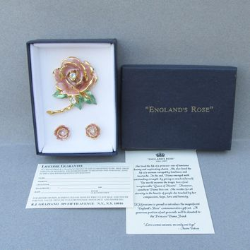 NEW In Box! Vintage 1997 R.J. Graziano England's Rose Pink Enamel & Rhinestone Pin Earrings Set, Princess Diana