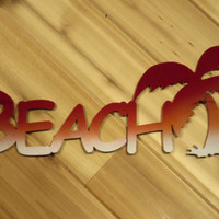 Metal Wall Art Metal Wall Words Beach with Palm Tree By PrecisionCut