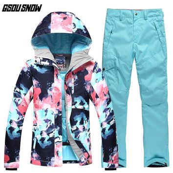 GSOU SNOW Brand Ski Suit Women Skiing Jackets Snowboarding Pants Winter Warm Snow Suit Outdoor Jacket Female Waterproof Clothes