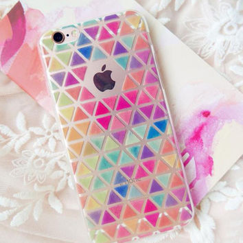 Bird Fruits Colorful Diamond Lattice Case Cover For Apple iPhone 5S 6 6s 6 Plus Case Silicone Cartoon Soft Case XY107 XY108