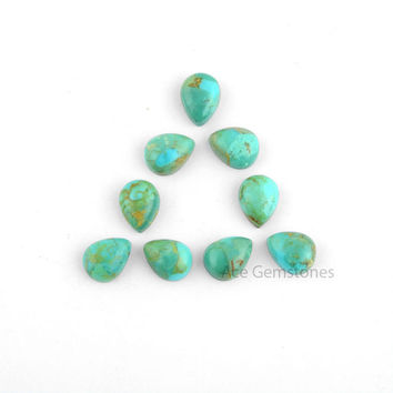 Arizona Turquoise Pear Smooth Calibrated Cabochons, Wholesale Loose Gemstone for Making Jewelry - 10 Pcs.