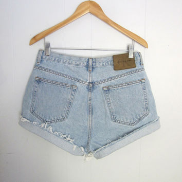 Vintage 90s Light Blue CK High Waisted Cut Off Denim Shorts Boyfriend Jean Cuffed 31""