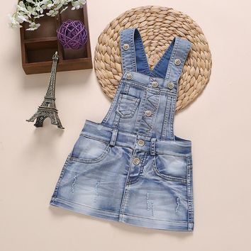 6M-7 Years Baby Sundress Baby Girl Dress Summer Denim Dresses Girls Overalls Kids Jeans Bebe Infant Clothes Baby Clothing  23456