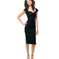 Stop Staring! Mad Men Black Pleated Bodice Cap Sleeve Wiggle Dress