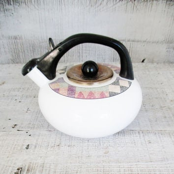 Tea Kettle Enamel Tea Kettle Retro Metal Teapot with Resin Handle Vintage Whistling Tea Kettle 1980s Enamel Teapot Mid Century Kitchen Decor