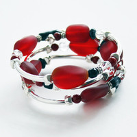 Cherry Red Sea Glass Black deep red stone Sterling Silver Spiral Bracelet adjustable womens bracelet silver bangle stacked bracelet
