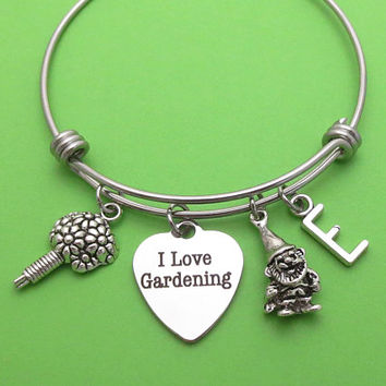 Personalized, Initial, I Love Gardening, Bouquet, Fairy, Garden Gnome, Silver, Bangale, Bracelet, Lovers, Friends, Sister, Gift
