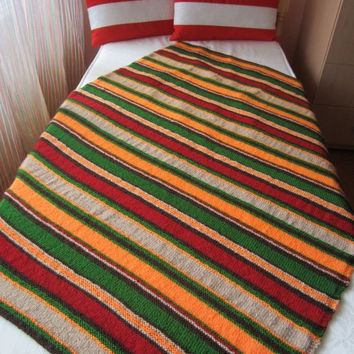 ON SALE - 10% OFF Hand Knitted Stripes Afghan...Colorful Knitting Blanket...