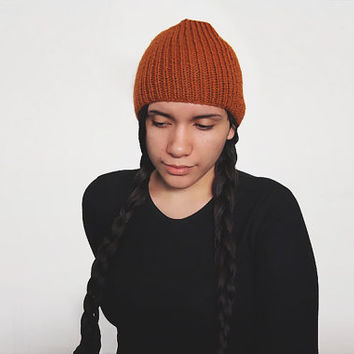 hand knit vegan custom hat -- the torse beanie in rust or pick your color