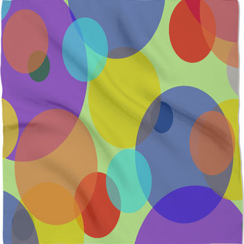 Pastel circles pattern, mixed colors bandana design, color palette stylish clothing accessory, kerchief