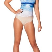Blue White Beige One Piece Scoop Neck Sleeveless Strap Ocean Beach Horizon Swimsuit Bathing Suit