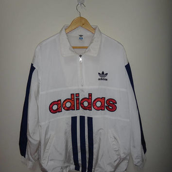 Vintage ADIDAS Spell Out Big logo Jacket Trainer Sweater Men's Windbreaker Jackets
