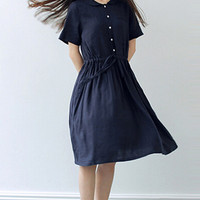 Navy Blue Button Down Drawstring Waist Midi Dress