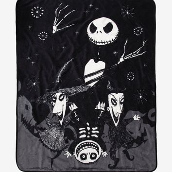 Licensed cool The Nightmare Before Christmas Jack Lock Shock Barrel THROW Blanket Disney NEW