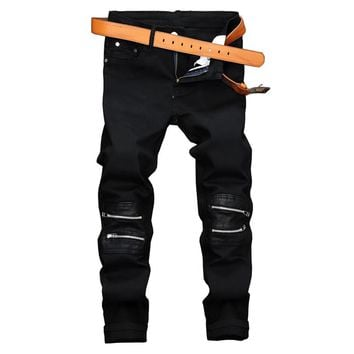 2018 New Fashion Black Skinny Jeans Pants Hi-Street Mens Denim Joggers