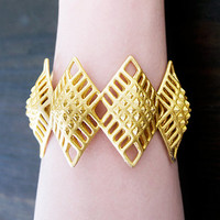 3D-Printed Gold Steel Cuff Bracelet- -Gold Tribal Bracelet- -Gold Statement Bracelet- -Gold Cuff Bracelet