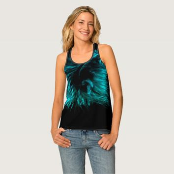 Feather in turquoise tank top