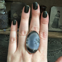 Dendritic Opal Ring Size 9 1/2 / Large Crystal Ring / Natural Moss Opal Ring / Gypsy Statement Ring / Hippie Ring / Copper Electroformed