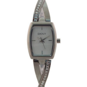 NY2252 Crosswalk Crystal Accent Stainless Steel Half-Bangle Bracelet Watch by DKNY (Women)
