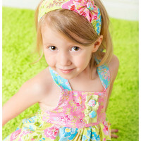 Spring Fling Halter Top and Ruffle Pants - Bubblegum Pink, Sky Blue, and  Lime Green with Flowers and Bow.  Matching Headband included.