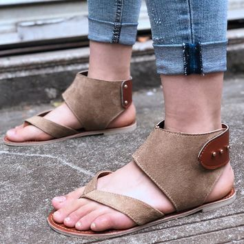 Matte Leather Women's Rome Flat Sandals
